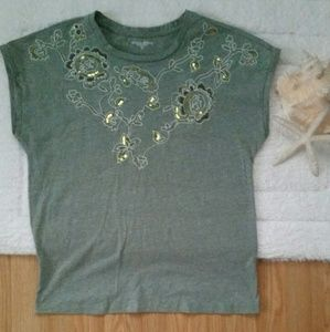 *Laura Scott Olive Sequin Embroidered Shirt*